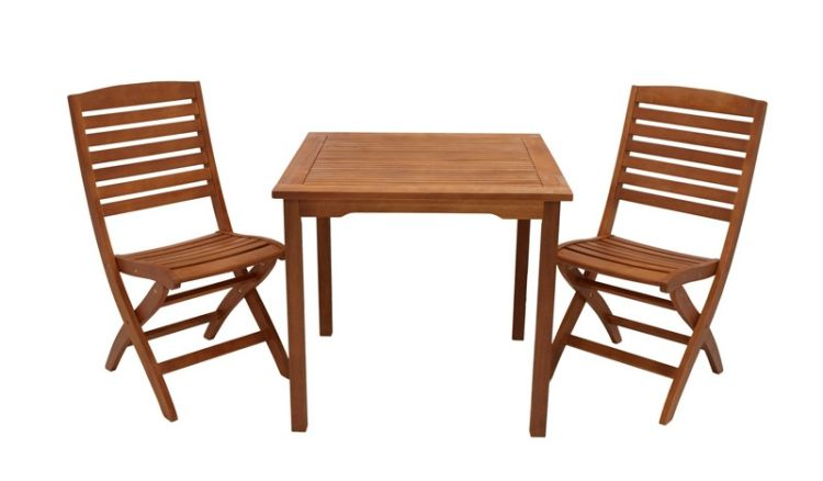 Dank klappbarer Stühle und balkonfreundlichen Maßen passt die Balkongarnitur Nyon auch auf den kleineren Stadtbalkon.