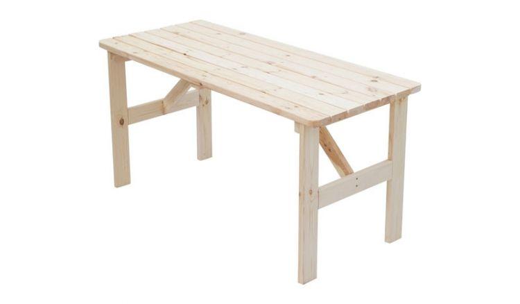 Robust, zeitlos, günstig: 150 x 65 x 74 cm Gartentisch aus unbehandeltem Kiefernholz im klassischen Stil