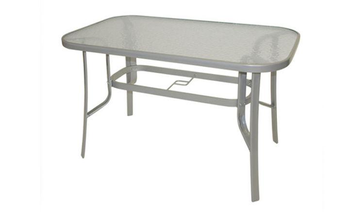 Elegant und wetterfest: Der 120 x 70 x 73 cm Gartentisch Stahl besticht durch eine Tischplatte aus Sicherheitsglas mit Strukturoberfläche