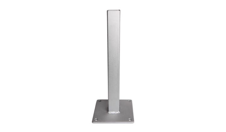 Die Universal Pfostenkonsole aus verzinktem Metall zum Aufdübeln der Pfosten. Das Maß ist 13 x 13 x 40,8 cm.