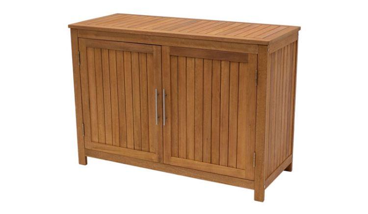 Aus geöltem Eukalyptusholz: Die robuste 120 x 50 x 85 cm Gartenkommode mit 2 Klapptüren bietet viel Stauraum für Ihre Gartenutensilien