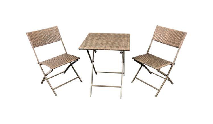 Klappbare Polyrattan Balkonmöbel in Braun bi-color: Das Komplettset ist für beengte Platzverhältnisse optimal