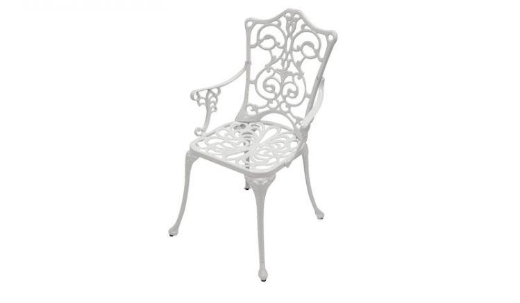 58 x 53 x 90 cm Gartenstuhl aus Aluguss in Weiß mit Jugendstiloptik für Garten und Balkon