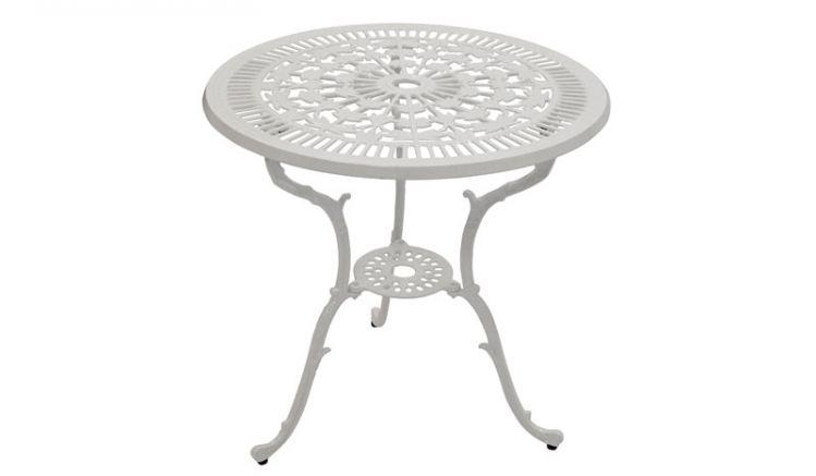 Durch seine runde Form und die ornamentalen Verzierungen sorgt der weiße ø 70 x 70 cm Alu Gartentisch für ein Wohlfühlambiente im Garten und auf dem Balkon