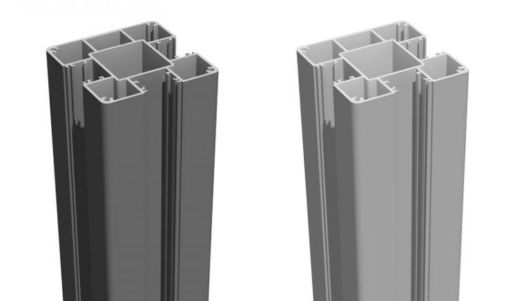 Unsere Alupfosten in den Farben Silbergrau und Anthrazitgrau - in den Längen 100/150/190/240 cm - 3-seitig genutet