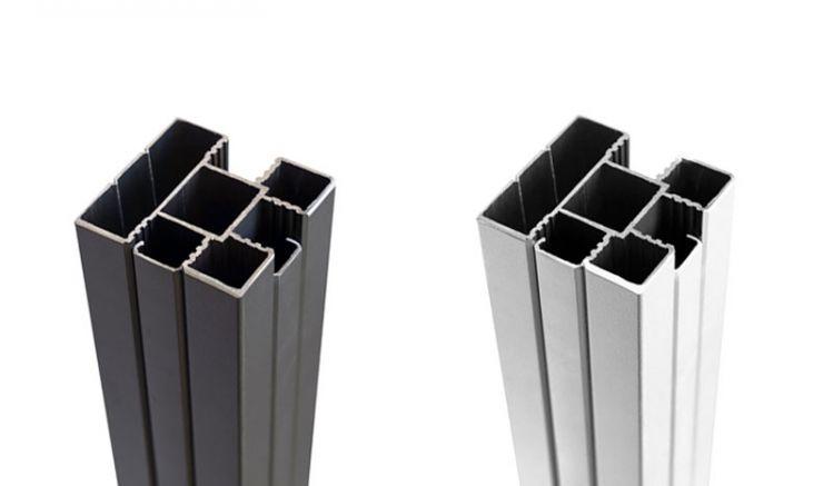 Der 6,8 x 6,8 cm Eco Steckzaun Pfosten aus Aluminium ist in Silber und Anthrazit erhältlich
