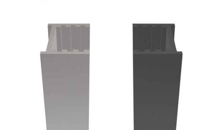 Das 2 x 2 x 200 cm Wandprofil aus Aluminium wird einfach an der Wand verschraubt