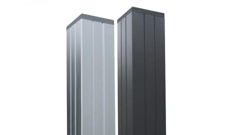 er 6,8 x 6,8 cm WPC Alupfosten Trent kann in den Farben Silber und Anthrazit in den Längen 240 cm und 270 cm (270 cm hat der Torpfosten) zum Einbetonieren und 180 cm (zum Aufschrauben) bestellt werden