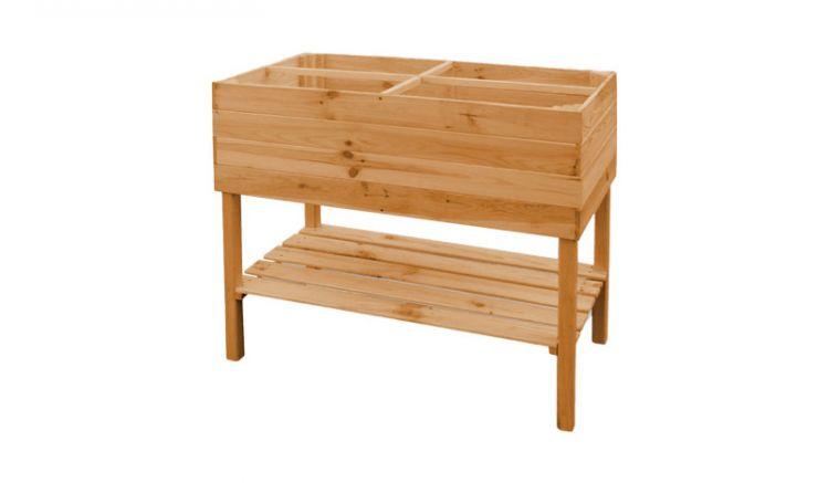Das Balkonkräuterbeet verfügt über 4 gleichgroße Fächer und eine praktische Ablagefläche. Mit einem Maß von ca. 100 x 50 x 80 cm ist es ideal für den Balkon geeignet.