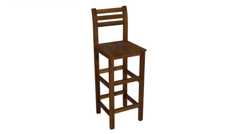 Die 36 x 38 x 110 cm Barstühle aus geöltem Akazienholz bieten dank Rückenlehne und Fußstützen viel Komfort in Innen- und Außenbereichen