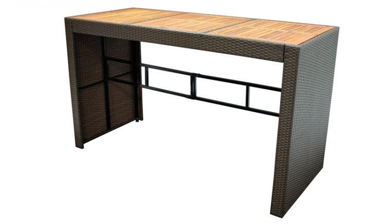 185 x 80 x 110 cm Bartisch für 4-6 Personen mit brauner Polyrattan-Bespannung auf robustem Metallgestell und stilvoller Tischplatte aus geöltem Akazienholz