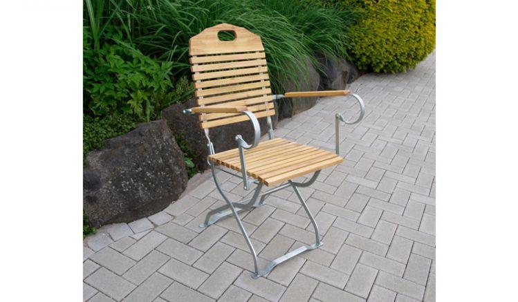 Bierzelt Stühle -klappbar- mit verzinkten Flachstahl und Robinienholz.