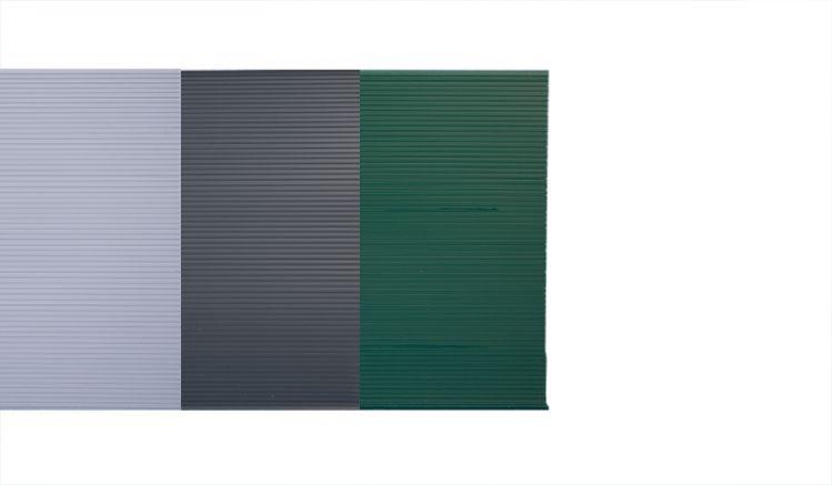 Drei Blickdichtstreifen in grün, grau und hell grau
