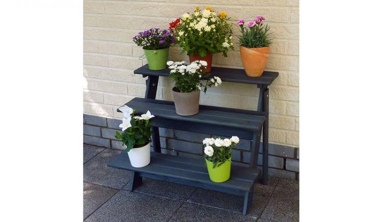 Wetterfest imprägnierte 78 x 55 x 62 cm Holz Blumentreppe in Anthrazit mit drei Etagen