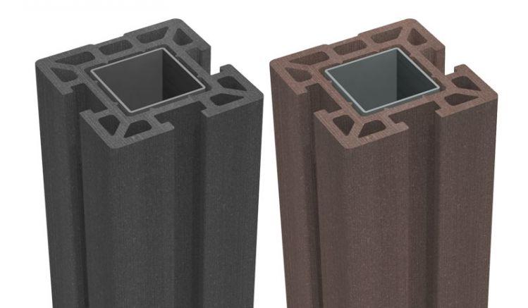 Der BPC Pfosten mit Stahlkern ist in den beiden Farben Terra und Anthrazit in verschiedenen Ausführungen zum Einbetonieren und Aufdübeln erhältlich