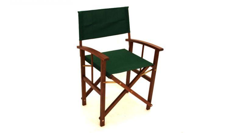 Regiestuhl aus Holz mit grüner Stoffbespannung!