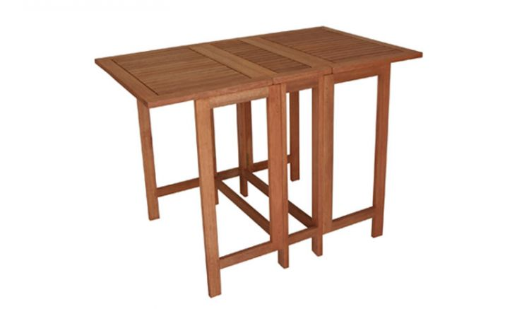 107 x 65 x 75 cm Doppel Klapptisch aus geöltem Eukalyptusholz. Mit zwei einzeln klappbaren Tischplatten