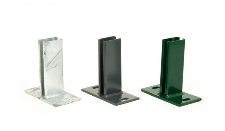 Doppelstabmatten Pfostenträger für 4 x 6cm Pfosten mit ca. 150 x 80 mm Bodenplatte, 12 mm Bohrungen