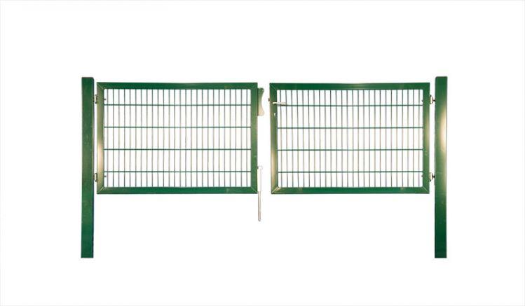Doppeltor aus Metall, grün pulverbeschichtet in der Breite 300 cm oder 400 cm