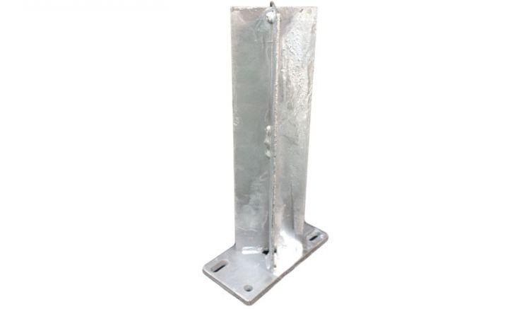Feuerverzinkter 30 x 16 x 8,8 cm Standfuß für den Eco Aluminiumpfosten. Der Pfostenholm zum Aufdübeln ermöglicht nahezu unsichtbare Befestigungen