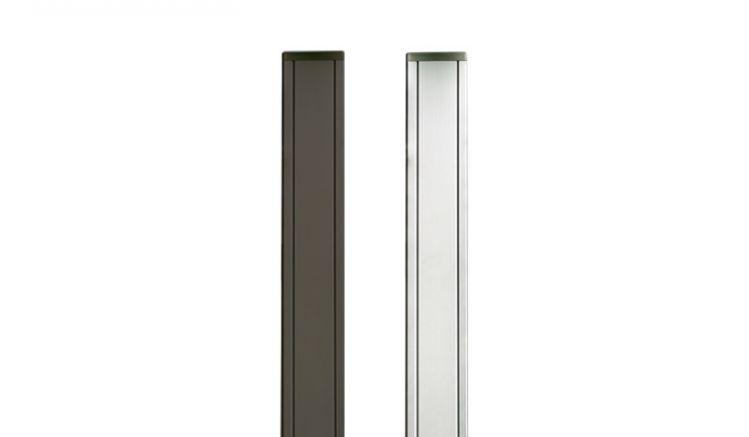 Hell eloxierter 6,8 x 6,8 x 185 / 265 cm Aluminiumpfosten in Silber / Anthrazit zum Einbetonieren oder Aufschrauben