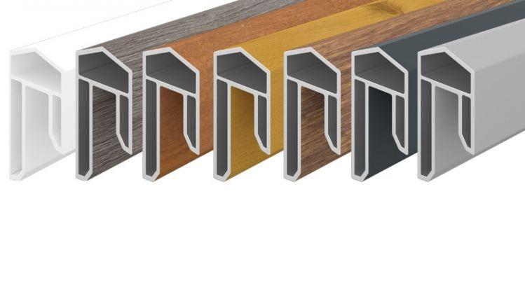 Abdeckleisten in 7 verschiedenen Farben und Dekoren aus pflegeleichtem PVC-Kunststoff. 1,7 x 3,1 x 176 cm