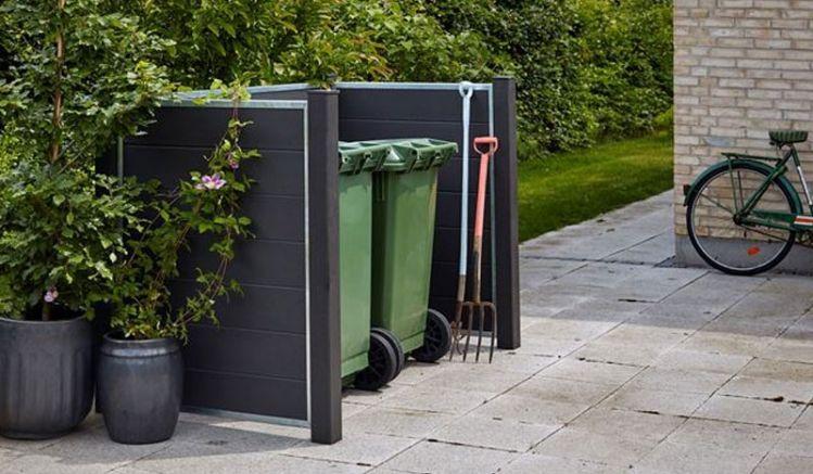 Die schiefergraue Mülltonnenverkleidung Futura ist aus wetterfestem WPC gefertigt. Die Maße: 192 x 108 x 127 cm (L x B x H)