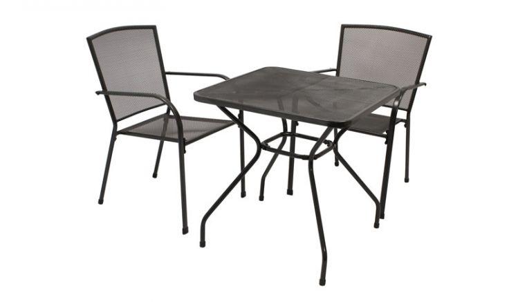 Die optimale Garten Sitzgruppe für Balkone mit zwei 55,5 x 57 x 87 cm Stapelsesseln und 70 x 70 x 72 cm Tisch