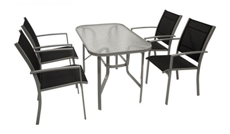 Garten Sitzgruppe aus vier 55 x 64 x 89 cm Stapelsesseln mit Armlehnen und einem 120 x 70 x 72 cm Tisch mit Glasplatte und abgerundeten Ecken