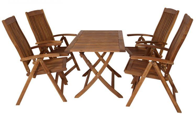 Die Gartengarnitur Göteborg besteht aus 4 Stühlen und einem Tisch.