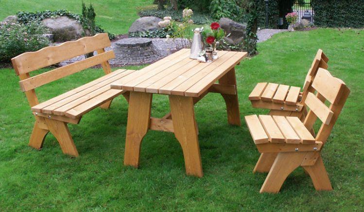 Bequemes Set zuum gemeinsames Kaffee trinken oder einen nachbarschaftlichen Klönschnack - Gartenmöbel Holz Trelleborg III