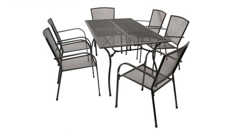 Die Gartenmöbel Metall Porto bieten sechs 55,5 x 57 x 87 cm Stapelsessel mit gerundeten Armlehnen und einen rechteckigen 150 x 90 x 73 cm Esstisch