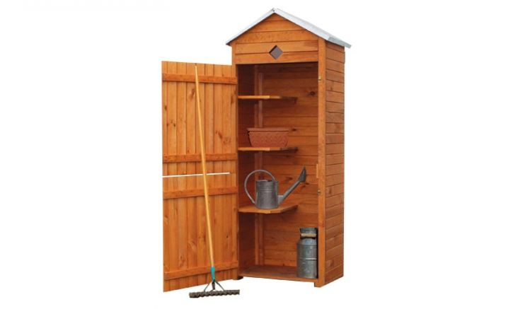 Dank 3 integrierter Regale und unabhängig voneinander zu öffnenden Türen bietet in der Gartenschrank Tondern vielfältig verwendbare Staufläche