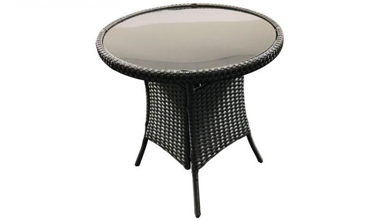 Als Beistell- oder Bistrotisch: Schwarzer ø 60 x 63 cm Gartentisch Rattan mit Glasplatte im modernen Lounge-Stil