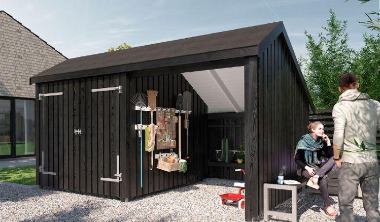 Schwarz gestrichener Geräteschuppen mit Dachpappe in der 432 x 248 x 250 cm Ausführung mit Tor