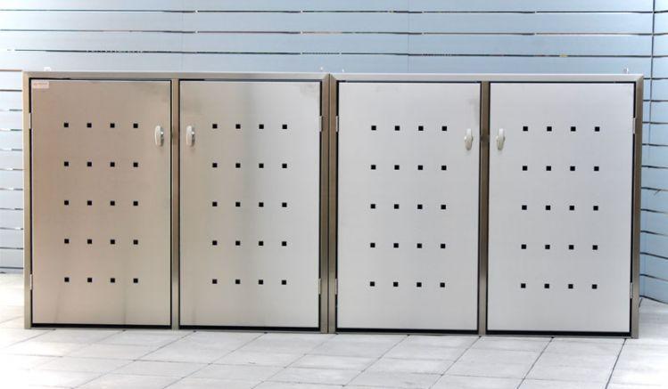 Innovative und elegante Mülltonnenbox aus gebürstetem Edelstahl mit Schiebedach. Erhältlich in 2 Ausführungen für 240 l Tonnen