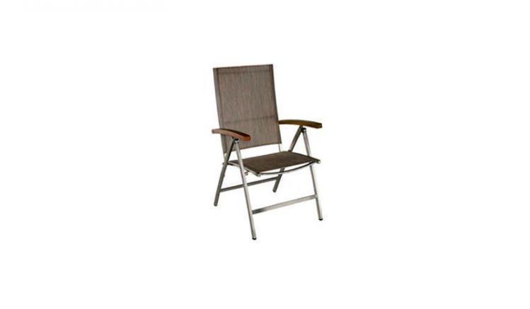 Toronto Edelstahl Hochlehner mit einer Rückenlehne aus Textilgewebe. Und einem Maß von 108 x 59 x 67 cm