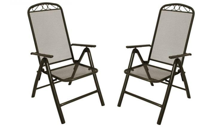 Zwei Gartenstühle aus Streckmetall im 2er-Set:  Anthrazitfarbene Hochlehner Klappsessel mit 5-fach verstellbarer Rückenlehne und Armlehnen