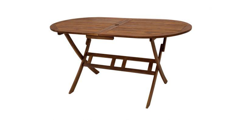 Der Holz Gartentisch klappbar Genua hat das Maß 160 x 85 x 74 cm und ist aus FSC zertifiziertem Akazienholz gefertigt