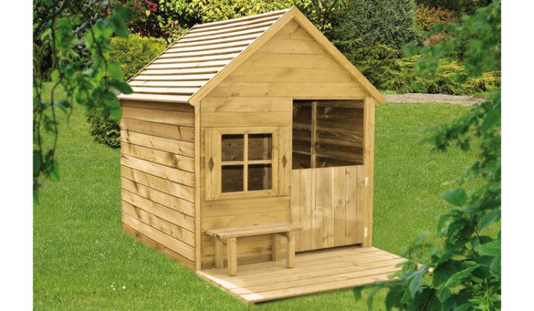 Unser Holz Spielhaus Leonas aus druckimprägnierter Kiefer/Fichte - das Maß beträgt 190 x 130 x 148 cm