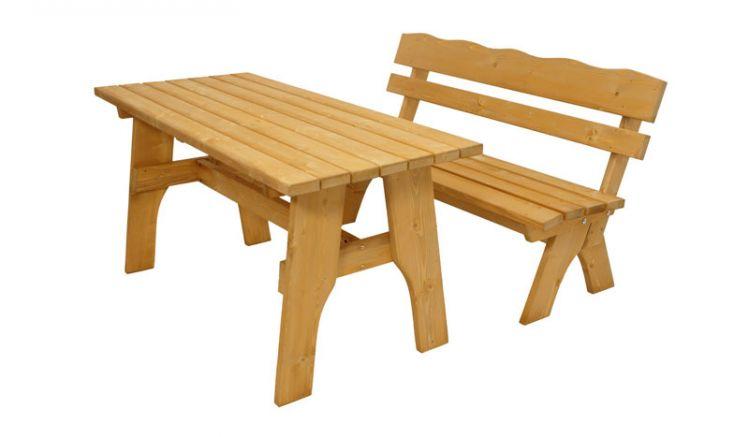 Rustikales Gartenmöbelset aus imprägnierter Kiefer. Zur Holzgarnitur gehören eine 150 x 60 x 82 cm Sitzbank mit Lehne  und ein 150 x 70 x 74 cm Tisch