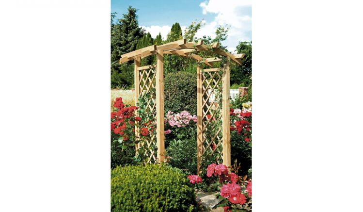 Pergola - Garten Entrèe mit Bogen und Rankgitter, aus druckimprägniertem Holz, Durchgangsbreite 100cm
