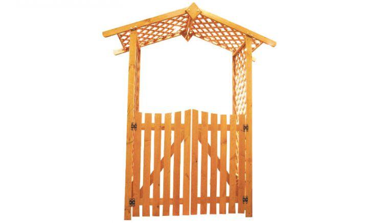 Der Holzrosenbogen Tambow inklusive Türen hat das Maß 167 x 53 x 219 cm. Gefertigt aus honigbrauner Kiefer / Fichte.