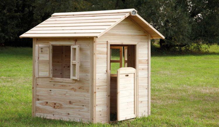 TÜV-geprüftes Holzspielhaus für den Garten, 135x 100x 130 cm, 100 % FSC Zedernholz.