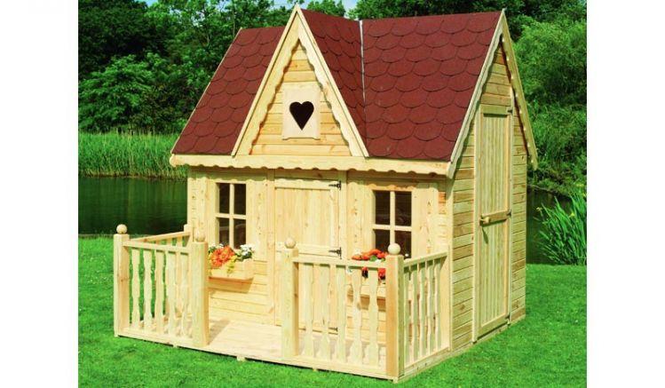 Luxuriöse 231 x 180 x 237 cm Kindervilla im Landhausstil aus unbehandeltem Kiefernholz, optional mit 50 cm tiefer Veranda erhältlich
