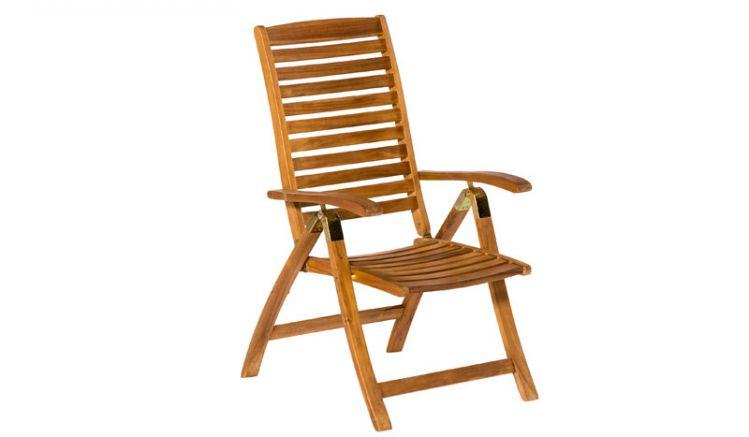 Der Klappsessel Madrid aus Akazie bietet durch die 5-fach verstellbare Rückenlehne sowie den ergonomischen Sitz und Rücken einen hohen Sitzkomfort