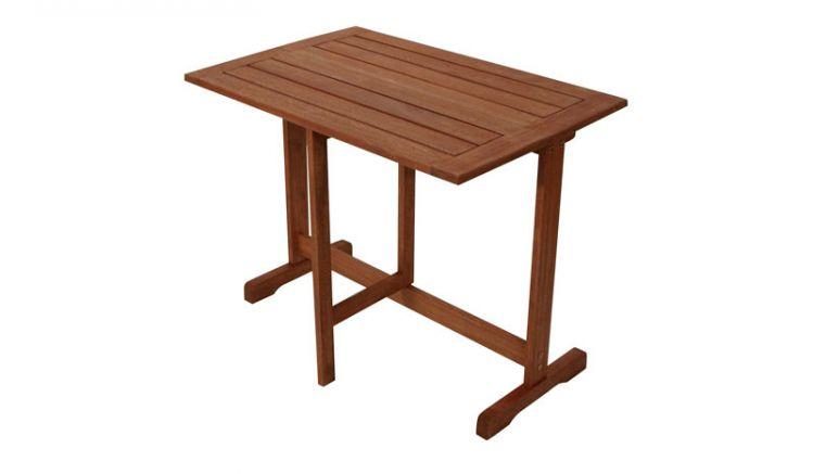 90 x 60 x 74 cm Klapptisch aus geöltem Eukalyptusholz. Ein Tischplattenteil lässt sich senkrecht kippen und herunterschwenken