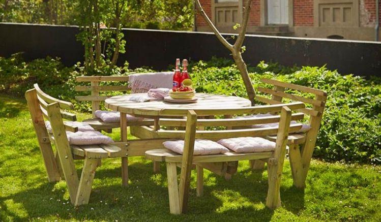 Runder Kombi Picknicktisch aus kesseldruckimprägniertem Nadelholz für 8 Personen