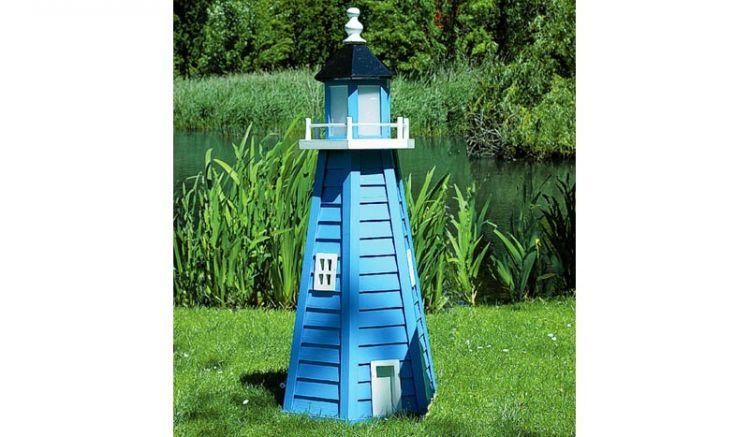 Der Leuchtturm Garten Saratow aus FSC zertifiziertem Holz in der Farbkombination weiß-blau