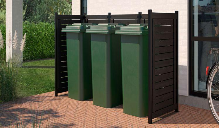Funktionalität und Stil kombiniert die Lund Mülltonnenabtrennung aus fungizid vorbehandeltem und zweifach schwarz farbgrundiertem Nadelholz